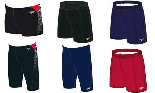 Men's swim shorts in red, black and navy