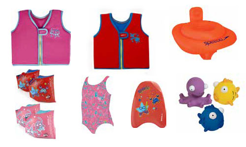Armbands, float vests and pool toys