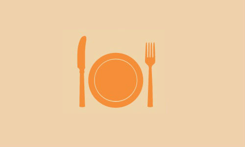 Knife, fork, and plate graphic