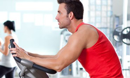 Man on exercise bike